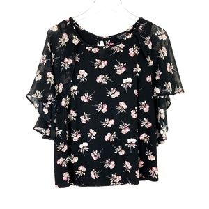 Topshop Floral Cape Top Black